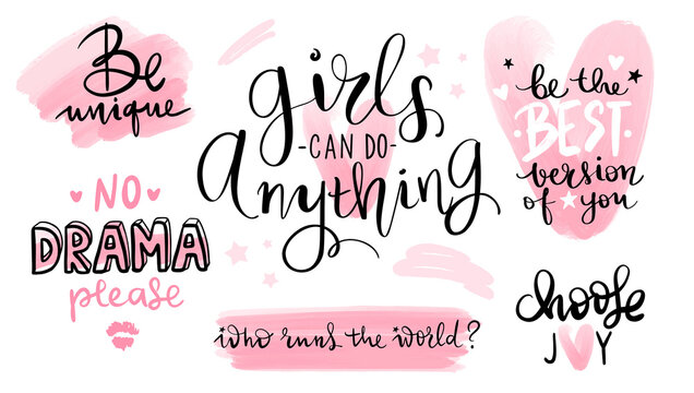 Motivation and inspiration quotes set for girls room, cards, wall decoration, blogs, posters and social media.