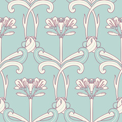 Floral Seamless Pattern in Art Nouveau Style.