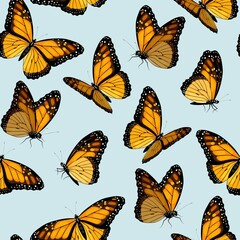 Vector seamless patterns with monarch butterflies