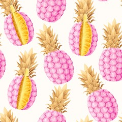 Seamless pattern with high detailed pine apple