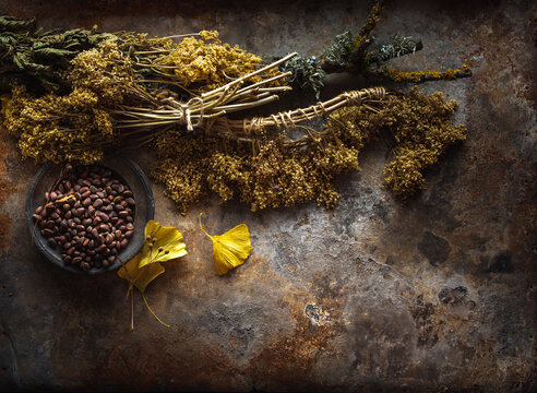 Dried Tea and Siberian pine nuts Background