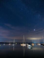 Sternenhimmel am See, Bayern, Deutschland