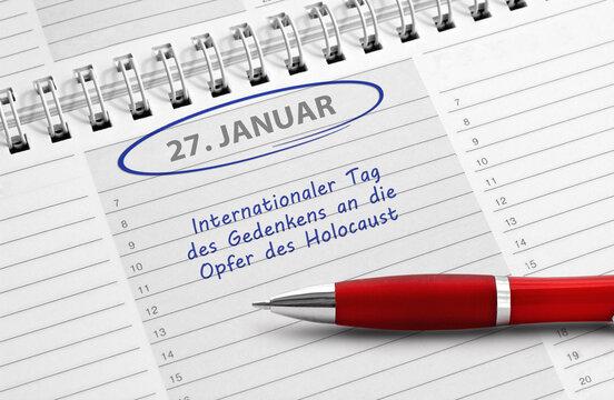 """Notiz """"27. Januar, Holocaust-Gedenktag"""""""