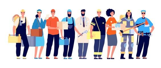 Photo sur Plexiglas Echelle de hauteur Frontliners characters. Essential workers, coronavirus work hero. Doctor nurse police postman, teamwork in pandemic time vector illustration. Doctor and courier, healthcare team frontline