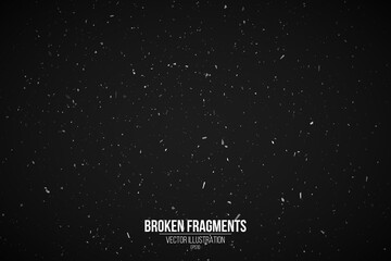 Grunge effect on a black background for your design. Splash background. White particles and fragments. Retro film backdrop. Vector Illustration