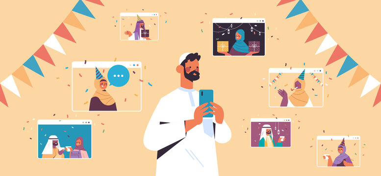 arab man celebrating online birthday party during virtual meeting with arabic friends in web browser windows celebration self isolation concept horizontal vector illustration