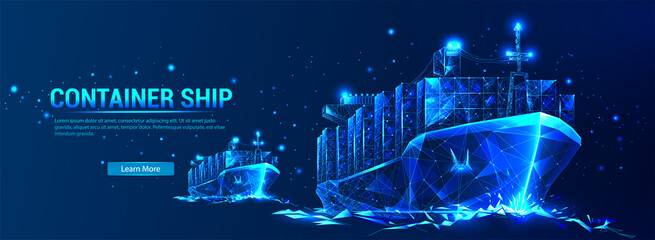Container ship, cargo ship in a futuristic polygonal style with a skeleton, low poly triangles on a blue background with stars. Marine Logistics Banner. World cargo ship. Vector illustration - fototapety na wymiar