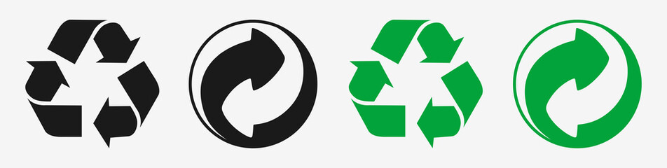 Green dot, Mobius loop recycling icon set. Vector symbols on triangle and circle arrow shape. Isolated illustration on white background.