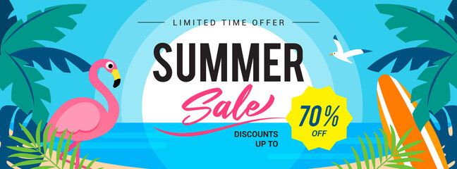 Photo sur Toile Les Textures Summer sale banner vector illustration. Sunset beach with flamingo.