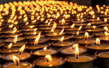 Candles lit for worship, Tamzhing Monastery, Bumthang District, Bhutan