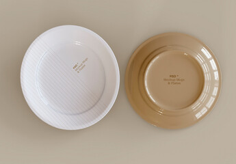 Top View of Two Plates Mockup