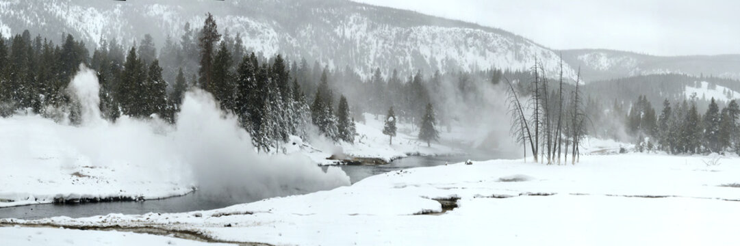 Hot Springs emptying on the Firehole River, Montana
