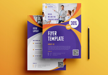Purple and Yellow Flyer Layout with Ribbon Elements
