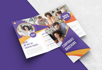 Trifold Business Brochure Layout with Purple and Yellow Accents