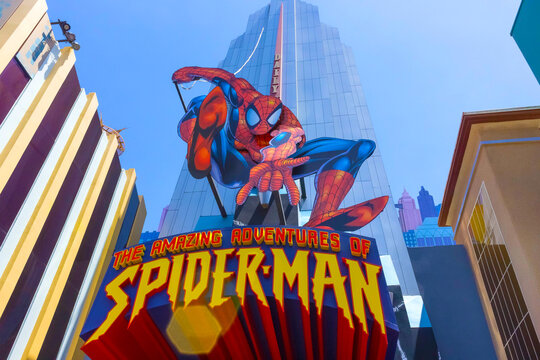 Orlando, Florida, USA - May 09, 2018: Entrance to SpiderMan ride. Universal Studios Orlando is a theme park