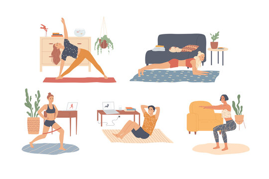 People at home are exercising. Workout, training