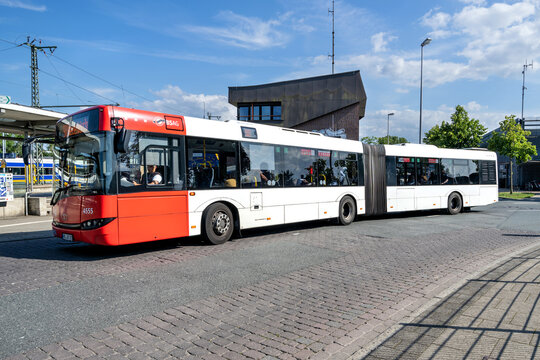 BREMEN, GERMANY - JUNE 22, 2020: BSAG Solaris Urbino 18 articulated bus at Bremen-Burg train station. BSAG is the public transport provider for Bremen, offering tramway and bus services.