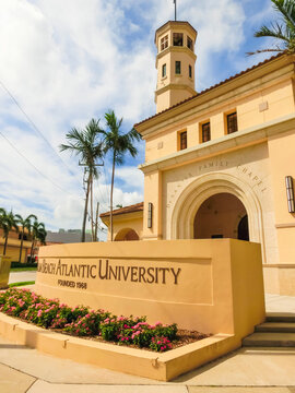 WEST PALM BEACH, Florida -7 May 2018: View of the Palm Beach Atlantic University in West Palm Beach, Florida, United States.
