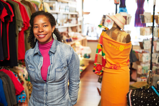 Black woman standing in store