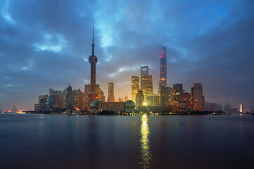 Fotomurales - Shanghai skyline in sunrise time, China