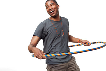 Smiling man playing with plastic hoop