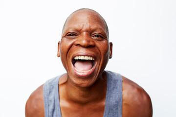 Black man screaming