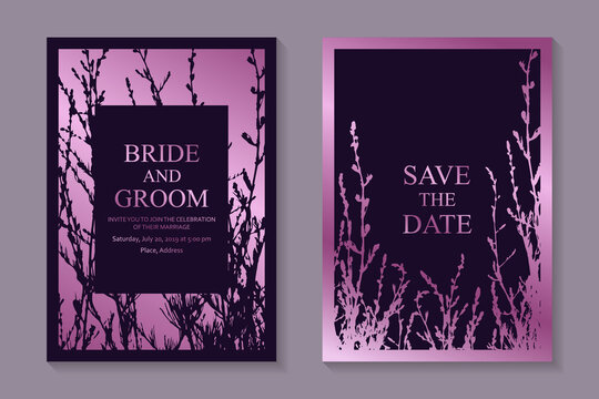 Modern luxury wedding invitation design or card templates for business or presentation or greeting with rose gold floral elements on a purple background.