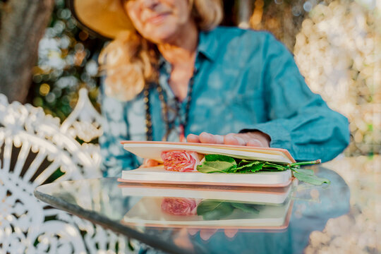 Senior woman pressing rose blossom between book pages