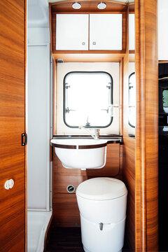 Small bathroom inside motor home