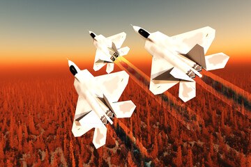 F-22 Fighter Jets over Forest - Three F-22 fighter jets with supersonic twin-engines fly leaving a trail of shock diamond exhaust in their wake.