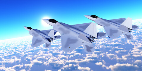 Three F-22 Fighter Jets - Three F-22 fighter jets with supersonic twin-engines cruise over the cloud layer on their mission.