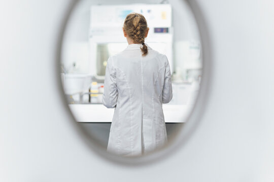 Senior female scientist seen through window at laboratory, rear view