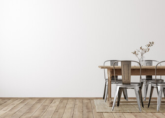Photo sur Toile Les Textures Farmhouse dining room interior, wall mockup, 3d render