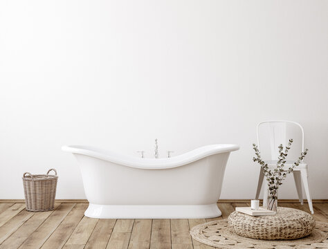 White cozy bathroom interior background, wall mockup, 3d render