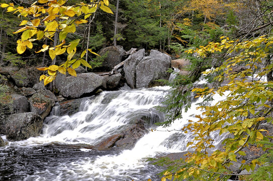 Autumn in the White Mountains. Inviting scenic view of Georgiana Falls along swift flowing section of Harvard Brook from hiking trail in North Woodstock, New Hampshire.