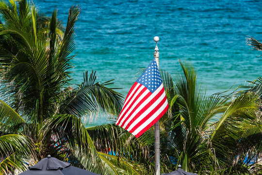 American flag waving on palm trees and ocean background