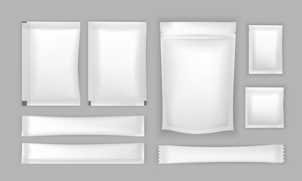 Set of bags packaging isolated on white background Vector illustration
