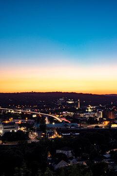 sunset over the Waterbury CT