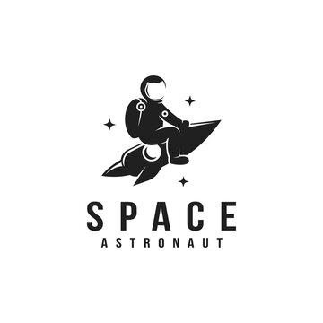 Fun explorer space astronaut riding a rocket mascot logo icon vector template on white background