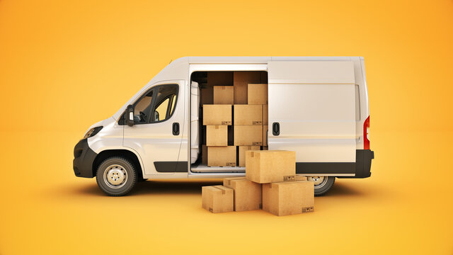 commercial delivery vans with cardboard boxes. 3d rendering