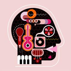 Fotorolgordijn Abstractie Art Human head shape design consisting with a different musical instruments vector illustration.