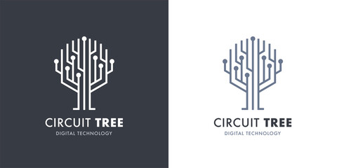 Circuit tree tech logo template design. Innovative digital technology concept business icon. Vector illustration.
