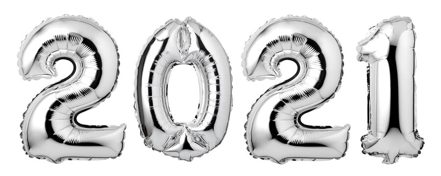 Numbers 2021 made of  silver balloons isolated on white background. New year concept.