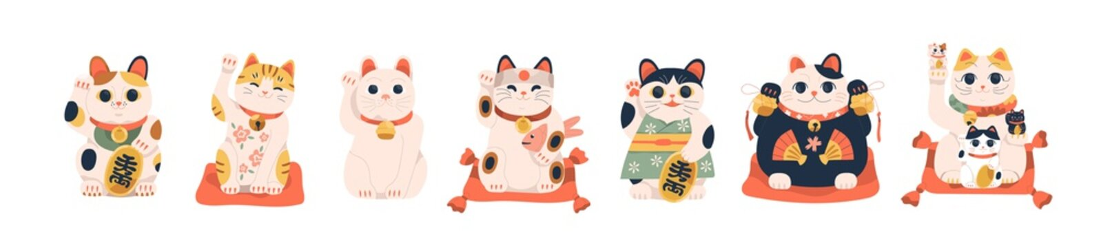 Set of different Japanese lucky cat maneki neko vector illustration. Collection of cute oriental feline figure with raised paw for attracting money and luck isolated. Traditional Asian toy symbol