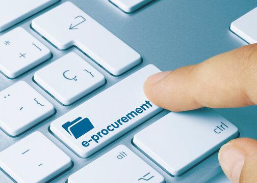 e-procurement - Inscription on Blue Keyboard Key.