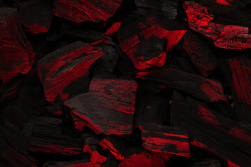Poster Firewood texture Hot coal barbecue grill backdrop