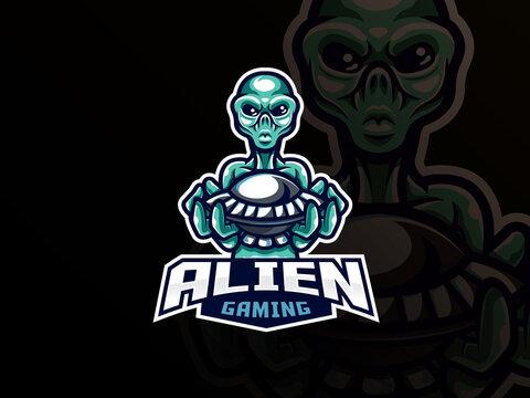 Alien mascot sport logo design