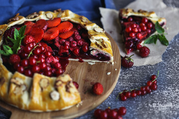 Homemade baking. Pie with red berries