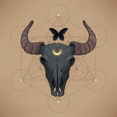 Vector card with bull skull and sacred geometry