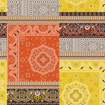 Colored bandanna kerchief fabric patchwork abstract vector seamless pattern